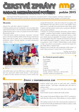 ČERSTVÉ ZPRÁVY - Nadace Mezinárodní potřeby