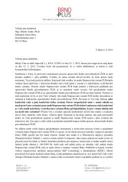 Brno+ posílá třetí otevřený dopis nám. Anderovi