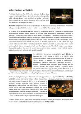 """Večerní pořady ve Strážnici - Mezinárodní folklorní festival """"Strážnice"""""""
