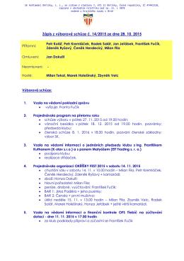 Zápis z výborové schůze č. 14/2015 ze dne 28.10.2015