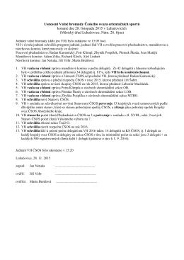 Usnesení sobotní valné hromady - Český svaz orientačních sportů