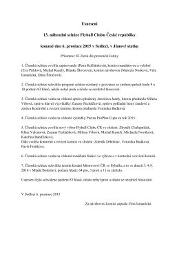 Usnesení 13. náhradní schůze Flyball Clubu České