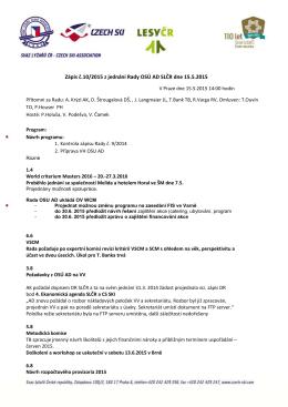 Zápis č.10/2015 z jednání Rady OSÚ AD SLČR dne 15.5.2015