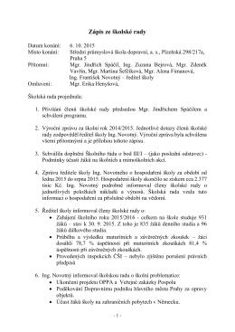 Zápis z jednání dne 6. 10. 2015 - Střední průmyslová škola dopravní