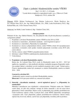 Zasedání AS VŠERS 5. 10. 2015