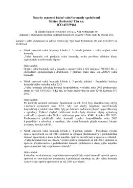 14. 5. 2015 Návrh usnesení valné hromady