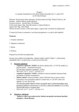 Zápis a usnesení č. 6/2015 Z á p i s ze zasedání