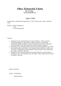 Zápis č. 3/2015 z jednání obecního