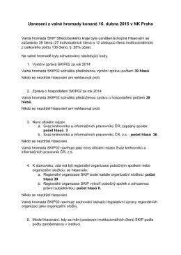 Usnesení z valné hromady konané 16. dubna 2015 v NK Praha