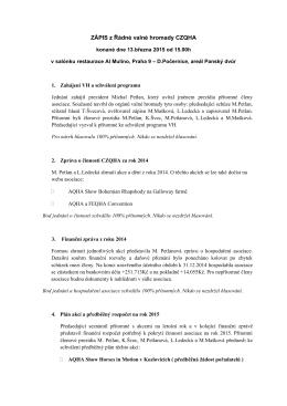 Zápis z Řádné VH CZQHA 2015