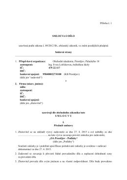 Příloha č. 1 SMLOUVA O DÍLO uzavřená podle zákona č. 89/2012
