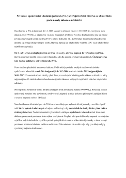 Povinnost společenství vlastníků jednotek (SVJ) zveřejnit účetní