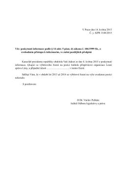 Odpověď podle zákona č. 106:1999 Sb. Č.j. KPR 3148:2015