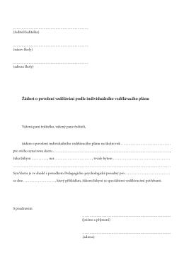 Žádost o povolení vzdělávání podle individuálního vzdělávacího plánu