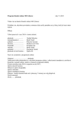Program členské schůze MO Liberec dne 7.3.2015 Vítám vás na