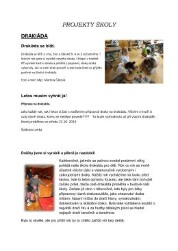 Projekty školy 2014/2015 - Základní škola a Střední škola, Most