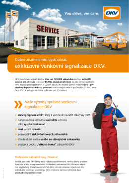 Objednávka tabulí a samolepek s logem DKV pro servisní partnery
