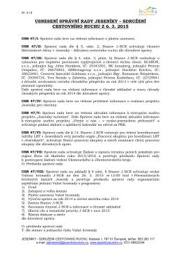 Usnesení Správní rady J-SCR z 6. 3. 2015 - Jeseníky