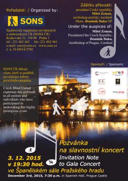 Koncert ve prospěch SONS na Pražském hradě
