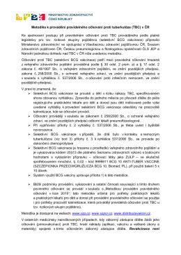 Metodika očkování proti TBC v ČR