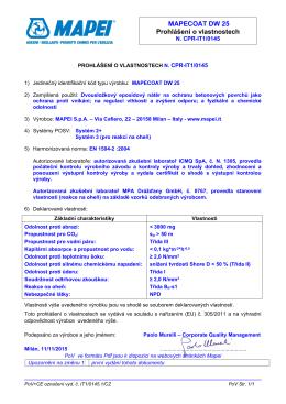 MAPECOAT DW 25 Prohlášení o vlastnostech