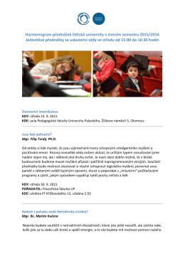 Harmonogram přednášek Dětské univerzity v zimním semestru 2015