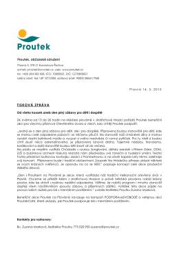 Na plovárně s Proutkem 2015 – tisková zpráva