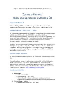 Zpráva o činnosti školy spolupracující s Mensou ČR: červenec 2015