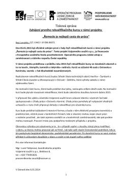 tiskova-zprava 6.1.2015 zahajeni kurzu