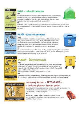 SKLO – zelený kontejner PAPÍR - Modrý kontejner nápojový karton