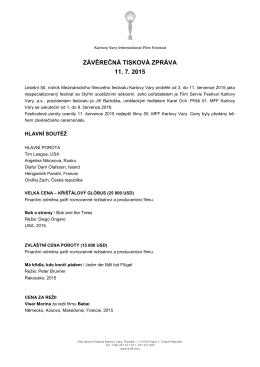 Závěrečná tisková zpráva - Mezinárodní filmový festival Karlovy Vary