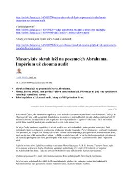 HN Masarykův okruh leží na pozemcích Abrahama HN 18.3.2015