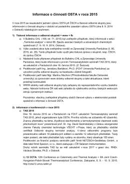 Informace o činnosti OSTA-2015