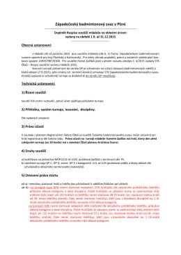 Rozpis soutěží mládeže v zpč. oblasti 2015-2016