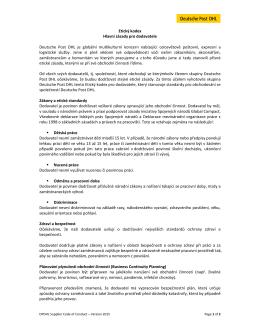 Etický kodex Hlavní zásady pro dodavatele Deutsche Post DHL je