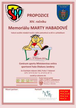 PROPOZICE Memoriálu MARTY HABADOVÉ