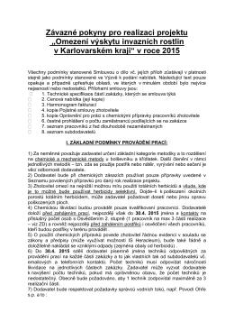 Závazné pokyny pro realizaci projektu 2015