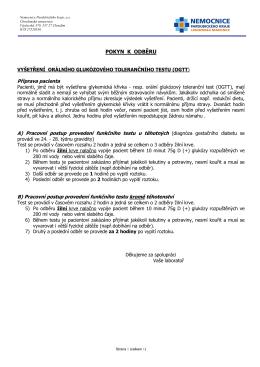 Pokyn k vyšetření OGTT