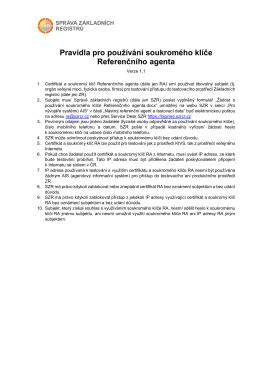 Pravidla pro používání soukromého klíče Referenčního agenta