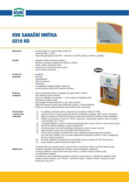KVK sanační omítKa 0210 Ko