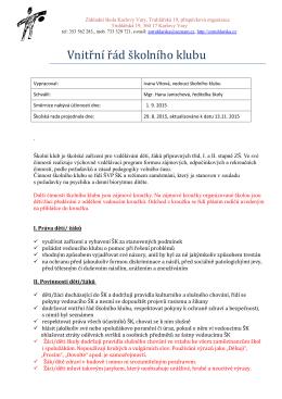 Vnitřní řád – Klubík a kroužky - Základní škola Karlovy Vary