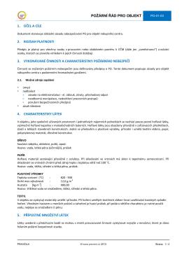 požární řád pro objekt 1. účel a cíle 2. rozsah platnosti 3