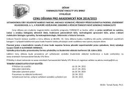 Cena děkana a SVK 2015 - Farmaceutická fakulta