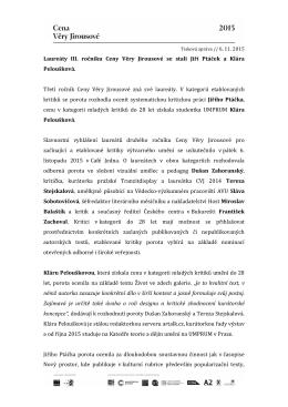 Laureáti CVJ 2015 - Cena Věry Jirousové