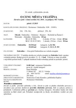 (Propozice O cenu města Velešína 2015)