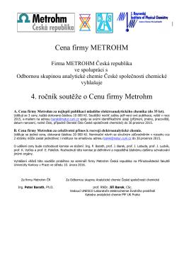 Cena firmy METROHM 4. ročník soutěže o Cenu firmy Metrohm