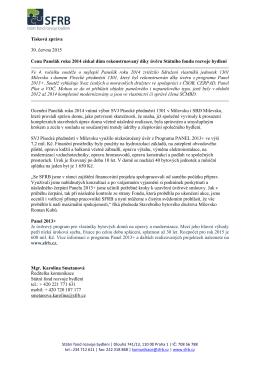 Tisková zpráva 30. června 2015 Cenu Panelák roku 2014 získal