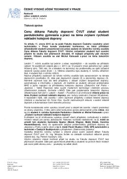 Cenu děkana Fakulty dopravní ČVUT získal student pardubického