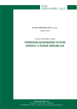 Statut ceny - Klub Personalistů