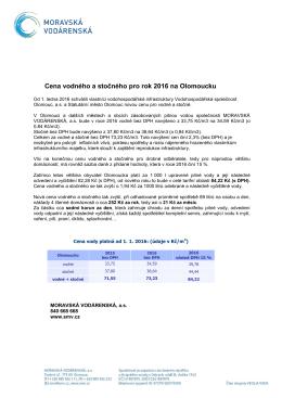 Cena vodného a stočného pro rok 2016 na Olomoucku
